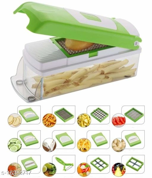 12 in 1 Fruit & Vegetable Chopper, Graters, Slicer, juicer, Chipser, Dicer, Cutter Chopper Upgraded Deluxe Model with Peeler and Heavy Stainless Steel Blades