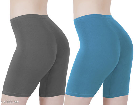 Buy That Trendz Cotton Lycra Tight Fit Stretchable Cycling Shorts Womens | Shorties for Active wear / Exercise/ Workout / Yoga/ Gym/ Cycle / Running Charcoal Turquoise Combo Pack of 2