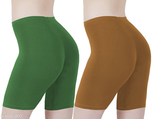 Buy That Trendz Cotton Lycra Tight Fit Stretchable Cycling Shorts Womens | Shorties for Active wear / Exercise/ Workout / Yoga/ Gym/ Cycle / Running Jade Green Khaki Combo Pack of 2
