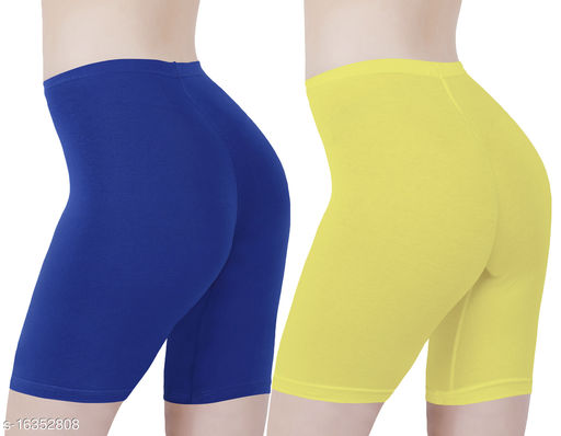 Buy That Trendz Cotton Lycra Tight Fit Stretchable Cycling Shorts Womens | Shorties for Active wear / Exercise/ Workout / Yoga/ Gym/ Cycle / Running Royal Blue Lemon Yellow Combo Pack of 2