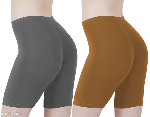 Buy That Trendz Cotton Lycra Tight Fit Stretchable Cycling Shorts Womens | Shorties for Active wear / Exercise/ Workout / Yoga/ Gym/ Cycle / Running Charcoal Khaki Combo Pack of 2