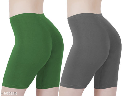 Buy That Trendz Cotton Lycra Tight Fit Stretchable Cycling Shorts Womens | Shorties for Active wear / Exercise/ Workout / Yoga/ Gym/ Cycle / Running Jade Green Charcoal Combo Pack of 2