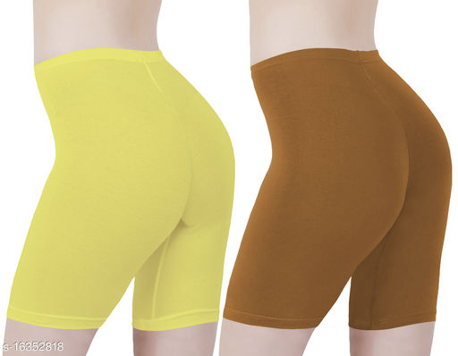 Buy That Trendz Cotton Lycra Tight Fit Stretchable Cycling Shorts Womens | Shorties for Active wear / Exercise/ Workout / Yoga/ Gym/ Cycle / Running Lemon Yellow Khaki Combo Pack of 2