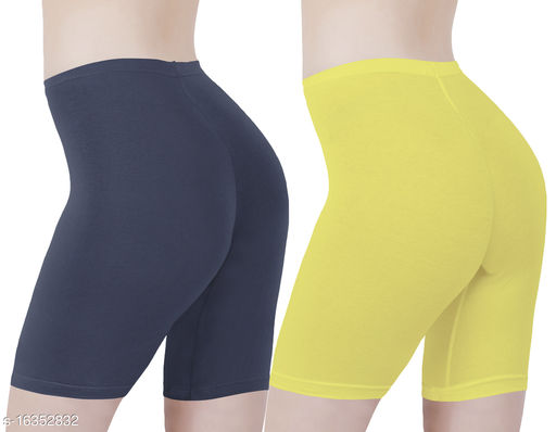Buy That Trendz Cotton Lycra Tight Fit Stretchable Cycling Shorts Womens | Shorties for Active wear / Exercise/ Workout / Yoga/ Gym/ Cycle / Running Navy Lemon Yellow Combo Pack of 2