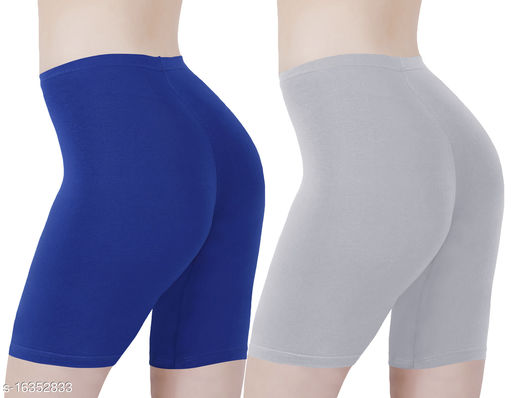 Buy That Trendz Cotton Lycra Tight Fit Stretchable Cycling Shorts Womens | Shorties for Active wear / Exercise/ Workout / Yoga/ Gym/ Cycle / Running Royal Blue Grey Combo Pack of 2