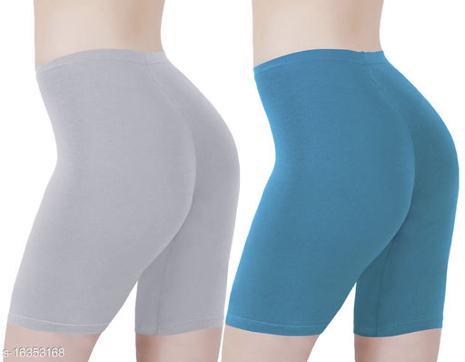 Buy That Trendz Cotton Lycra Tight Fit Stretchable Cycling Shorts Womens | Shorties for Active wear / Exercise/ Workout / Yoga/ Gym/ Cycle / Running Grey Turquoise Combo Pack of 2