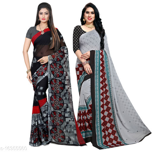 Pack of 2 Printed, daily wear Georgette Sarees with unstitched blouse piece