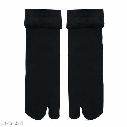 Winter Thermal Toe Dark Colour Wool Heavy Duty Warm Ankle Length Socks Women/Girls Winter Socks BLACK (PAIR OF 6)
