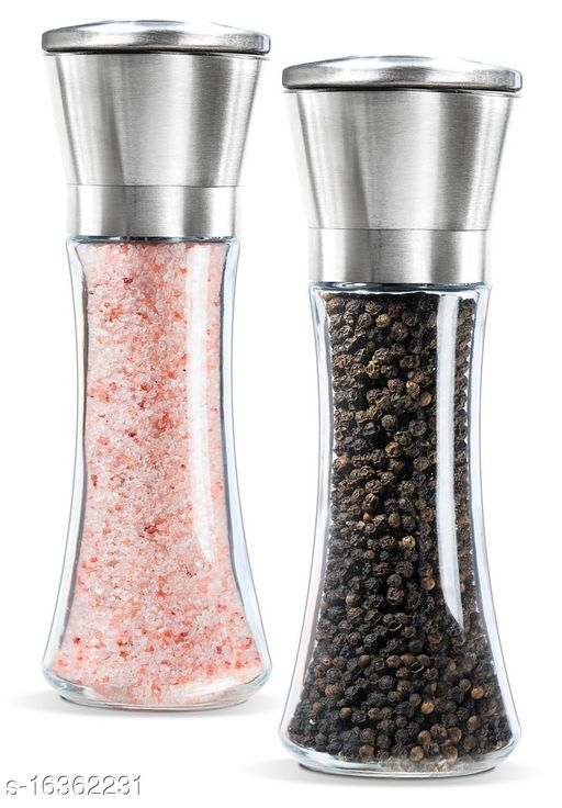 Salt and Pepper Crusher, Salt and Pepper Shakers with Adjustable Coarseness by Ceramic Rotor,Stainless Steel Pepper Mill Shaker and Salt Crushers Mills set of 2