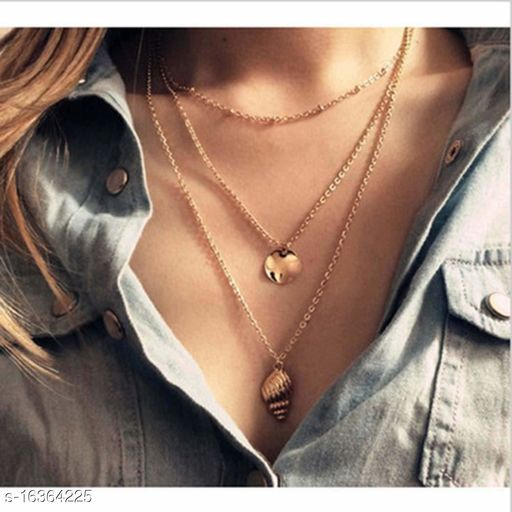 Arzonai Boho Conch Gold Cape Necklace Beach Sequins Pendant Necklaces Chain Jewelry for Women and Girls