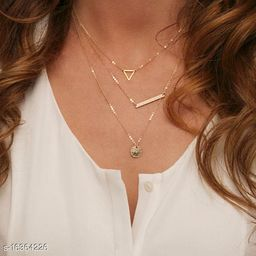 Arzonai Summer Multilayer Necklaces Triangle Round Fashion Vintage Chain Necklace For Women Jewelry
