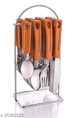 Loozito Flora Wire Orange Stainless Steel Cutlery Set(Orange)