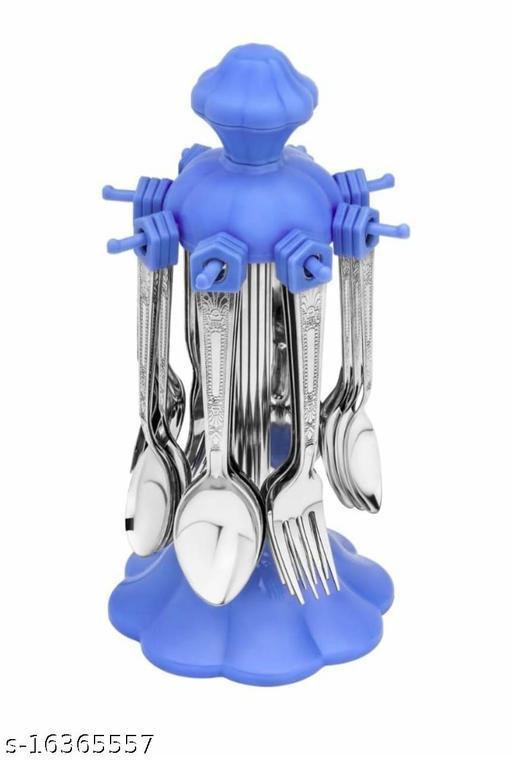 Loozito Diamond Blue Stainless Steel Cutlery Set (Blue)