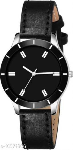 MMD New Stylish Black Cut Glass Leather Strap Watch For women Analog Watch