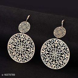 ARZONAI Non-precious Metal and Crystal & Cubic Zirconia Dangler Boho Earrings for Women & Girls, Golden…