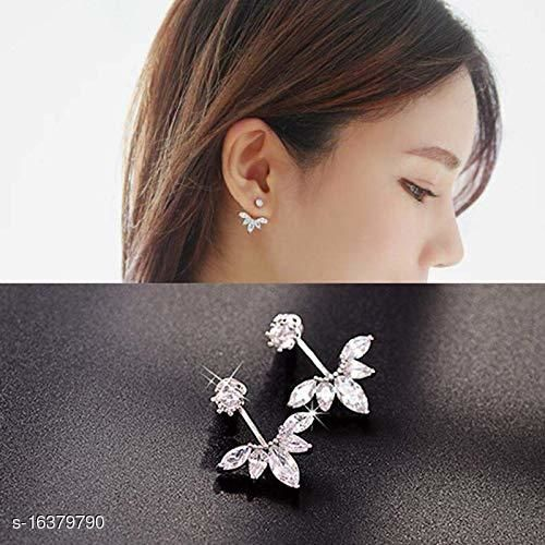ARZONAI Retro Non-precious Metal and Crystal Stud Earrings for Women & Girls, Silver…