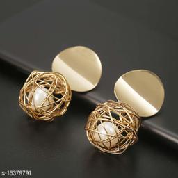 ARZONAI Wonderful Hanging Ball Plushy Drop Golden Metal Earrings for Women…