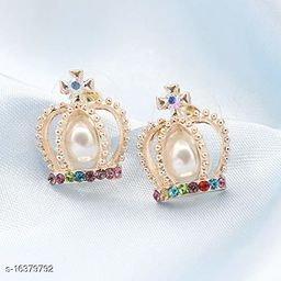 ARZONAI Crown Retro Non-precious Metal and Pearl Stud Earrings for Women & Girls, Golden…