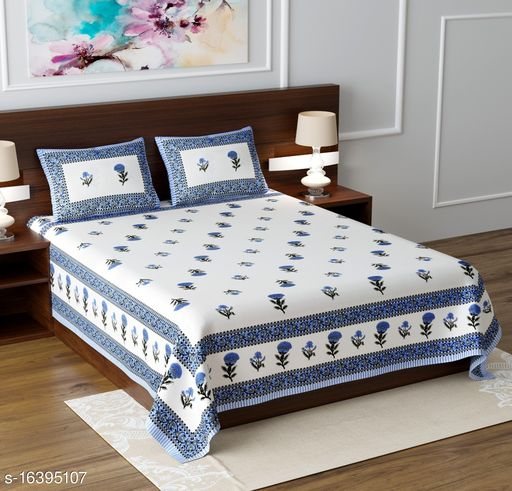 Chaddarwala's Casual 100 % Cotton Printed Blue Double Bedsheet With2 Pillow Cover Flat