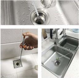 Metal Sink & drain Cleaner Spring Wire Hair Catcher (Pack-1)