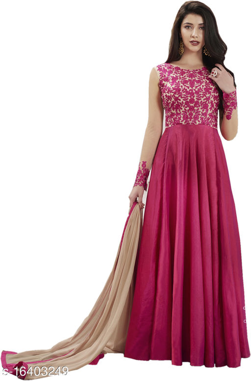 Women's Pink Paper Silk Semi-Stitched Embroidered Anarkali Salwar Suit (Free Size)