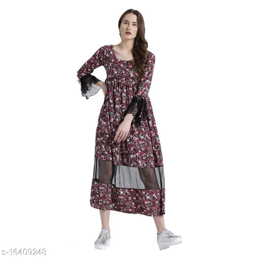 TEXCO florals polyester Long Sleeves Maxi For Women