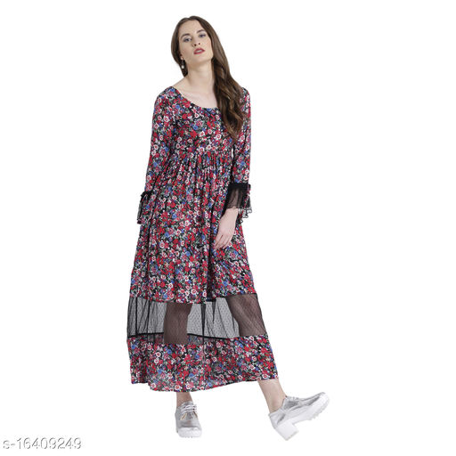 TEXCO florals modal Long Sleeves Maxi For Women