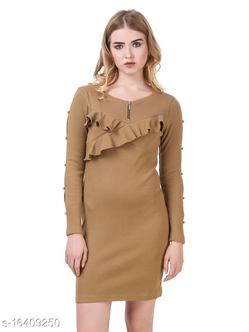 TEXCO Solids Cotton Long Sleeves Bodycon For Women
