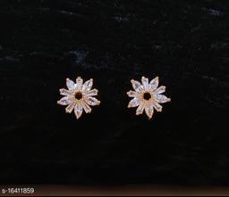 Neelam Glamorous Gold Plated American Diamond Studs for Women & Girls