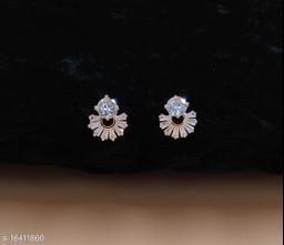 Neelam Glittering Gold Plated American Diamond Studs for Women & Girls