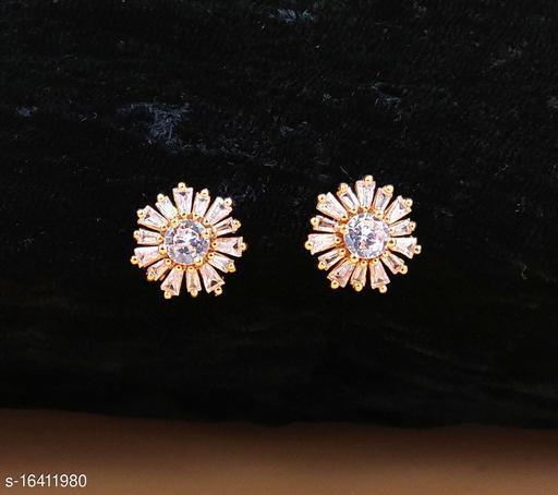 Neelam Precious Gold Plated American Diamond Studs for Women & Girls