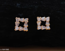 Neelam Unique Gold Plated American Diamond Studs for Women & Girls