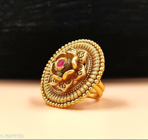 Neelam Rajwadi Look Gold Plated  Adjustable Finger Ring for Women & Girls