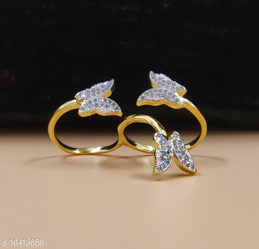 Neelam Exceptional Gold Plated Adjustable American Diamond Two Finger Ring for Women & Girls