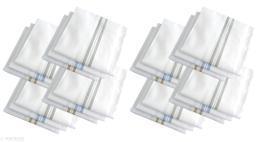 S4S 24 Piece Pack 100% Cotton Premium Collection Handkerchiefs for Men (White Striped_48CM X 48CM)