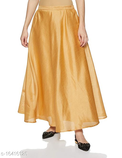 EPILOG Women's Full Ghera Silk Skirt For Women   Cotton Lining Inside   Traditional & Ethnic Wear   Golden Color Plus Size Also Available   Small