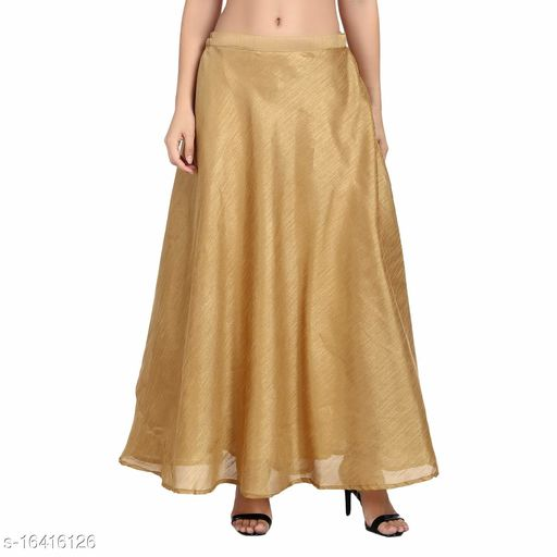 EPILOG Women's Full Ghera Silk Skirt For Women | Cotton Lining Inside | Traditional & Ethnic Wear | Copper Gold Color|Plus Size Also Available | Small