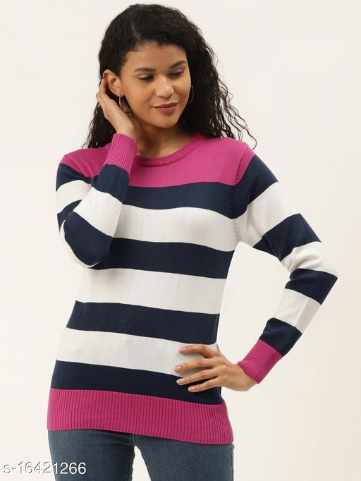 Style Quotient Women Pink & Navy Blue Striped Pullover Sweater