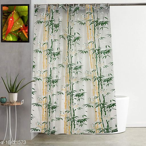 """Groki Bamboo Design PVC Shower Curtain with 8 Hooks 9ft(54""""x84"""", Green)"""
