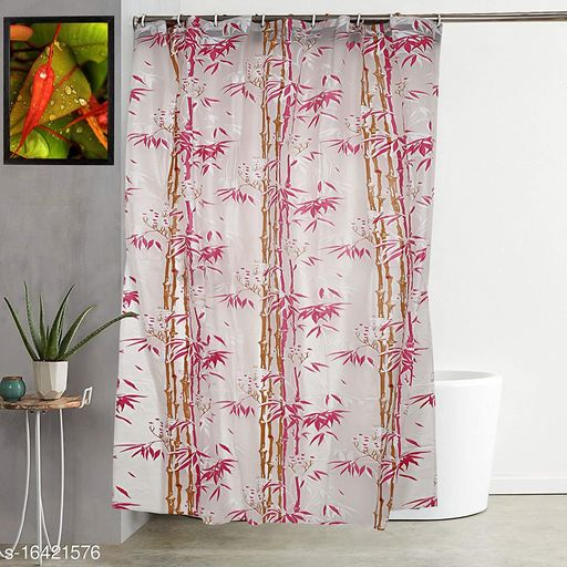 """Groki Bamboo Design PVC Shower Curtain with 8 Hooks 7ft(54""""x84"""", Pink)"""