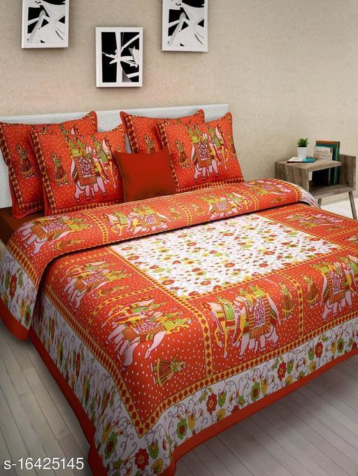 Gangor Jaipuri Print Cotton Double Bed Bedsheet with 2 Pillow Cover (Orange)