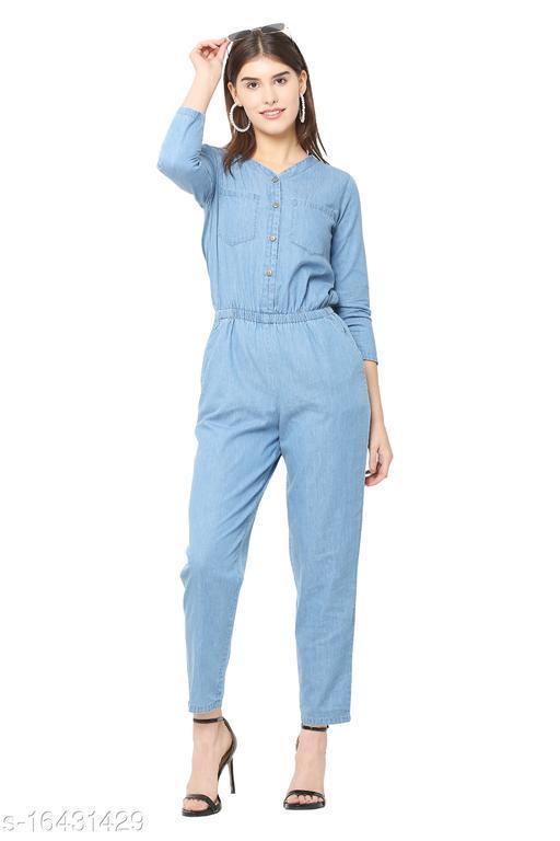 Avyanna Stylish Blue Solid 3/4th Sleeve Denim Jumpsuit For Women's & Girls