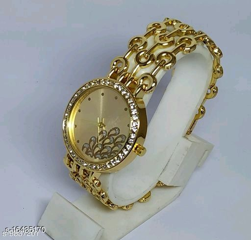 HRV Best Collection Women Peacock Dial Chain Gold Watch