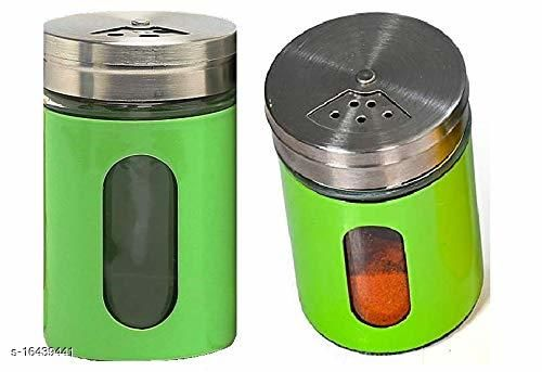Green Salt & Pepper Glass Bottleset of 2 green SS covered and with SS lid
