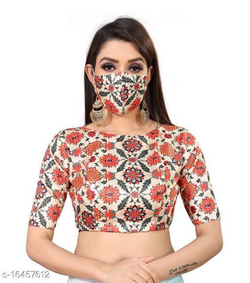 Elegant Women Readymade Blouse Digital Printed With Matching Mask
