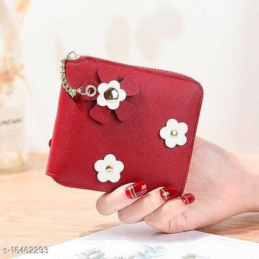 Trendy Women's Red Leather Wallet