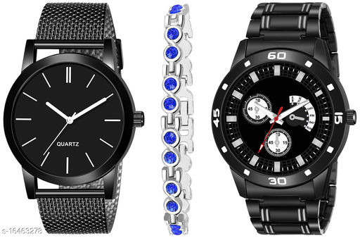 Khajana Present 3 Combo Watches With K184J001K58 Model Black Colour Dial & Black Colour Strap & Stainless steel Combo Analog Watches