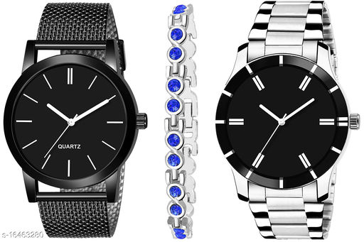Khajana Present 3 Combo Watches With K184J001K52 Model Black Colour Dial & Silver Colour Strap & Stainless steel Combo Analog Watches