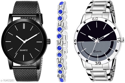 Khajana Present 3 Combo Watches With K184J001K59 Model Black Colour Dial & Silver Colour Strap & Stainless steel Combo Analog Watches