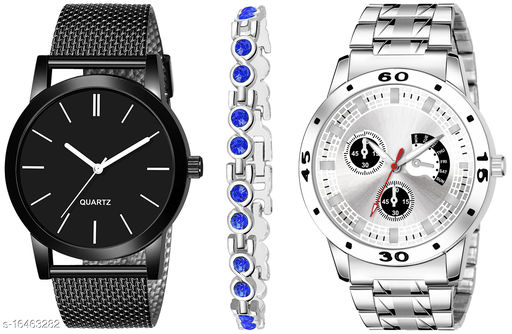 Khajana Present 3 Combo Watches With K184J001K55 Model Silver Colour Dial & Silver Colour Strap & Stainless steel Combo Analog Watches